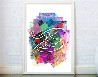 Abstract Watercolor Cat Print. Cat Painting Watercolor Poster. Cat Wall Art Watercolor Modern Geometric Cat Drawing Cat Illustration Cat Art