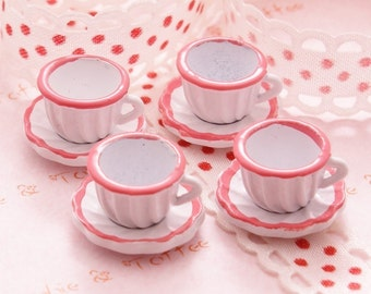 Cups and Saucer Plates Miniatures Set of 4 in Pink