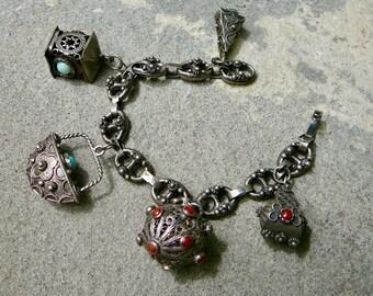 Vintage Etruscan Style Charm Bracelet,800 Silver Italian Charms,Peruzzi Style Charm Bracelet,Italian Silver Jewelry,Silver Charm Bracelet