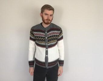60s Nordic Fair Isle Cardigan Sweater size MEDIUM ~ 5694