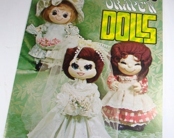 Loveable Drape'N Dolls, Make it Yourself, DIY, 1970's Craft Doll, Mr. and Mrs. Santa Doll Pattern  (734-13)