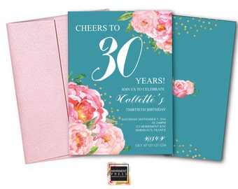 Teal 30th Birthday Invitation // Thirtieth Birthday Invitation // Pink // Flowers // Peony // Pink // Gold Glitter // BORDEAUX COLLECTION