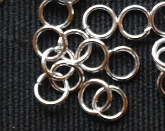 Twenty silver, silvered rings, jewelry crafts, jewelry findings 8 mm jump rings