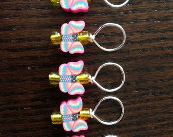 Set of 5  Stitch Markers - Bright Clay Butterflies with yellow glass sead beads