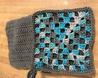 2 grey/ turquoise double thick pot holders