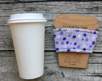 Coffee Cup Sleeve, Cozy 16 ounce Cozies for Tea, Latte, Hot Chocolate, Beverages, Cover with Purple Flowers Lavender