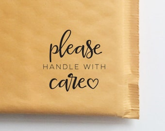 Please Handle With Care Stamp for Packaging and Shipping, Etsy Shop Stamp, Shipping Stamp, Packaging Stamp, Stamp for Shop Owners