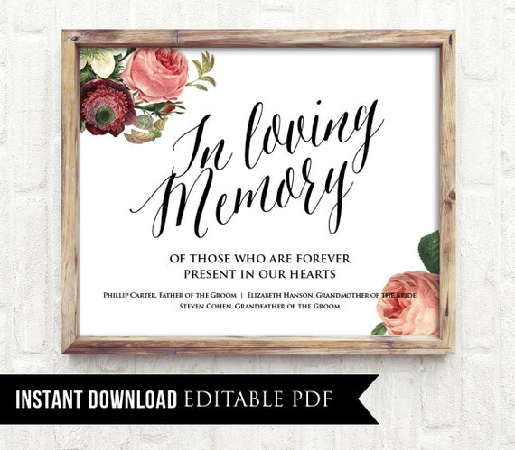 50% Off, In Loving Memory Wedding Sign Template, Editable, Instant Download, Personalize Names, Classic Vintage Floral Printable Poster, DIY