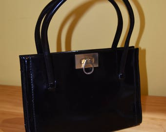 Vintage 1960s Black Patent Purse