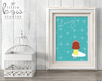 Printable Art: Lucy in the Sky with Diamonds, Baby Name Print, Personalized Nursery Decor, Unique Baby Shower Gift, Song Lyrics Print