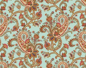 Savannah Garden - Aqua Paisley Floral from Henry Glass
