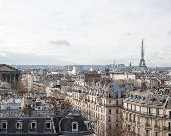 Paris Photography, Eiffel Tower Rooftop View, Parisian Rooftops, Eiffel tower, French Decor, Winter in Paris, Rebecca Plotnick