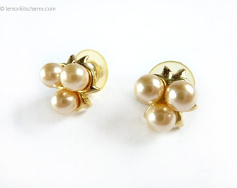 Vintage Faux Pearl Goldtone Earrings, Ear Studs, Jewelry 1980s 1990s, Pierced post, Beige Off-white, Fruit, Small
