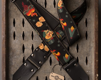 "Tattoo Series 2"" black fabric on black leather ""Skull and Dice"" guitar strap"