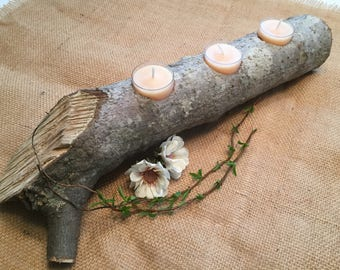 Rustic Log Candle Holder Natural Wood Wedding/Home/Cabin