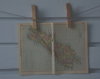 1910's Vintage New Zealand South Island Map