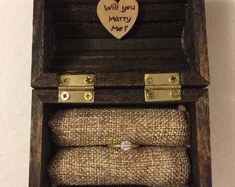 Will You Marry Me Box, Treasure Chest Ring Box & Heart, Rustic Ring Bearer Box, Keepsake Ring Box, Special Ring Box, Engagement Ring Box