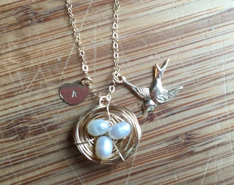 Personalized Initial 14 Karat Gold-Filled Bird Charm, Nest, and Heart Necklace on Chain