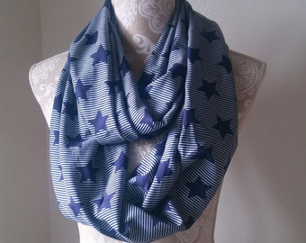Women's Stars and Stripes Infinity scarf, Women's scarves, soft scarf, Star Printed scarf, Women's scarf, Blue scarf, gift for her