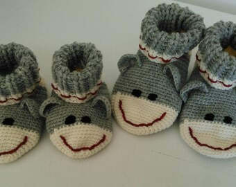 Sock Monkey Slippers, Made to Order, Infant to Youth Sizes