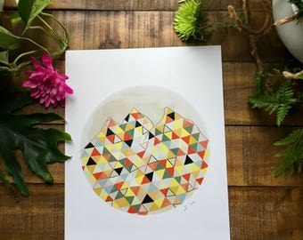Abstract art print, Mountain, pink, red, yellow, black, triangle, circle,   watercolor painting, illustrated,  archival,  design