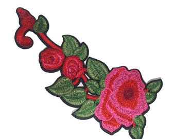 Iron On Embroidered Pink Roses Patches, Flower Appliques, Glue on Flowers, Garment Embellishment