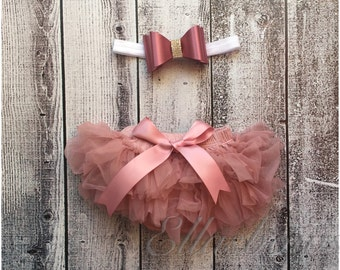 Baby TUTU bloomer and Satin and rhinestones hairbow..SALE...Baby Headband...Hair bow and Diaper Cover...custom sizes available