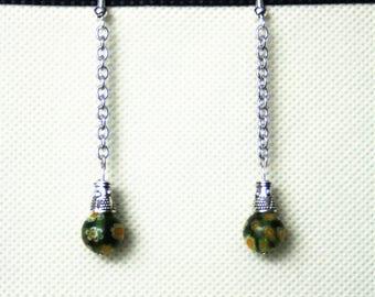 Long earrings with Millefiori bead chain