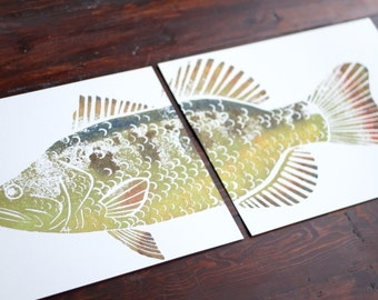 colored LARGEMOUTH BASS Hand-Printed (two 11 x 14 inch prints)