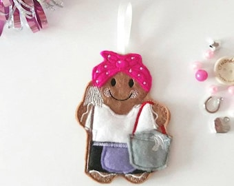 mrs mop cleaning lady gingerbread person christmas ornamanent hanging gift perfect retirement gift or keepsake as a keyring or magnet