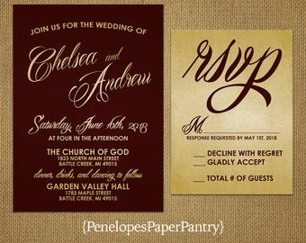 Burgundy and Gold Wedding Invitations,Elegant Script,Traditional,Shimmery,Formal,Customizable,Printed Invitations,Invitation Sets,Envelopes