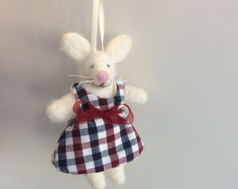 Little White Bunny Needle Felted Decoration