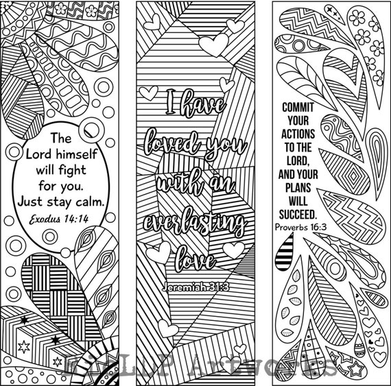 6 Bible Verse Coloring Bookmarks plus 3 designs with blank