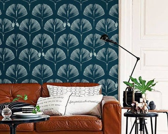 Self adhesive vinyl temporary removable wallpaper, wall decal - Ginkgo print  - 051