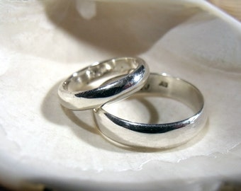 5mm & 3mm Sterling Silver Bands wedding engagement RF330