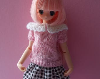 Handmade sweater with collar available for pure neemo, ruruko, kikipop, momoko, barbie, fashion royalty, pullip, blythe, bjd