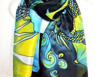"""Dragons And Castle Silk Scarf, Hand Painted Silk Scarf, Lime Green Turquoise Gray Black, 71"""" Long Scarf, Fantasy Silk Scarf, Gift For Her"""