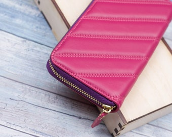 Leather wallet zipper for women, Pink wallet, zipper wallets, gift for girl, gift for girlfriend, gift for her