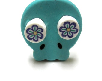 Sugar Skull Ring Day Of The Dead Jewelry Turquoise Blue