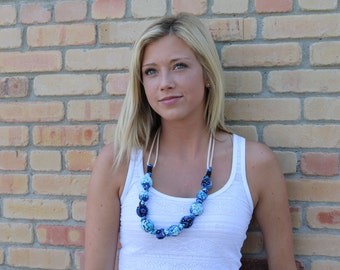 Cobalt Blue Black Teal Boho Fabric Beaded Necklace