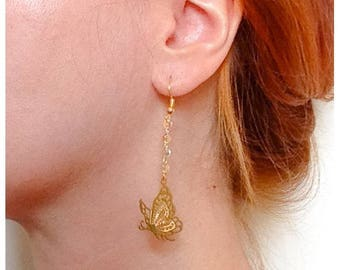 Earrings with chain and print Butterfly brass - gift idea