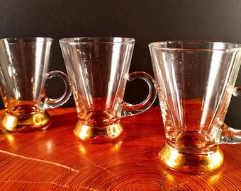Set of 3 Hand Blown Glass Espresso, Liqueur or Double Shot Glasses with 22 KT Gold Band Bases. Mid Century Modern, Hollywood Regency Barware