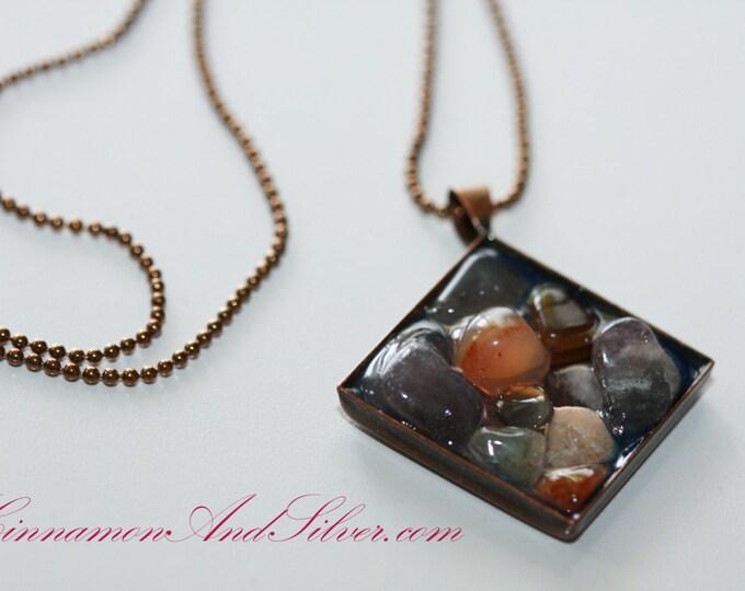 Purple and Orange Gemstone Pendant Necklace, Copper Diamond Necklace, Gemstone Mosaic Pendant Necklace, River Rock Pendant Necklace