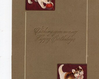 Vintage  Postcard Happy Birthday Greetings, Kittens playing with yarn,  antique postcard   - Carte postale