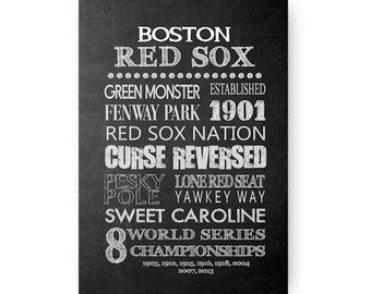 Boston Red Sox Chalkboard Digital Download