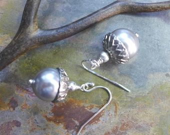 Acorn Earrings ONLY, Acorn Pearl  Earring ONLY, Bridal/Wedding/Bridesmaid Jewelry, Fall Earrings