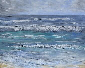 Tenner Tuesday Seascape acrylic painting, 20cm x20cm canvas  board, unframed, gift, waves crashing art, original acrylic painting, gift
