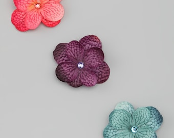 3 Different Colors of Hydrangea Blossom Snap Clips with Swarovski Crystals and No Slip Grip for Babies and Toddlers by Lil Miss Sweet Pea