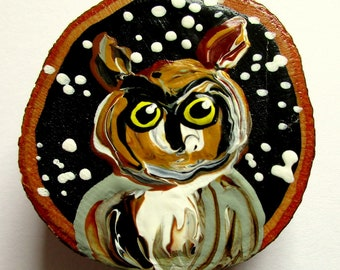 Magnet Hand-painted Art Great-Horned Owl