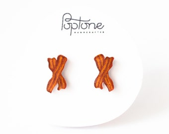Bacon Earrings, bacon studs, bacon lover jewelry, breakfast earrings